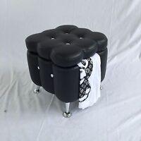 BLACK VANITY MAKEUP CHAIR SEAT FOOT STOOL DIAMOND STUD STORAGE  A2131