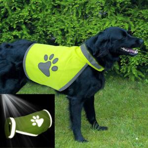 Pet Dog High Visibility Safety Vest Reflective Jacket Coat Small Large Paw Print
