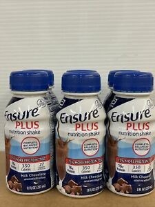 6 Pack Ensure Plus Milk Chocolate Oral Supplement 8 oz Ready To Use Bottle