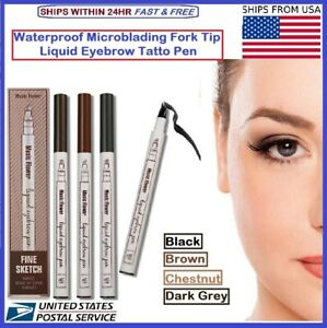 Music Flower Waterproof Microblading Fork 4Tip Liquid Eyebrow Pen Tattoo 4 Color