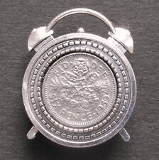 1960 60th birthday lucky sixpence Clock brooch Badge retro Queen Elizabeth gift