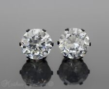 10mm Round Simulated Diamond Black IP Surgical Steel Studs Mens Womens Earrings