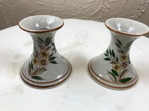 BEAUTIFUL CRACKLE YELLOW FLOWERS CANDLE STICK HOLDERS ~ MADE IN JAPAN