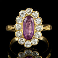 ANTIQUE VICTORIAN PINK SAPPHIRE DIAMOND CLUSTER RING 18CT GOLD CIRCA 1900