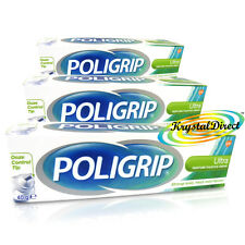 3x Poligrip Denture Fixative Cream Ultra Fresh Mint 40g Zinc Free