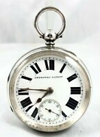 LARGE VICTORIAN STERLING SILVER FUSEE WORKING POCKET WATCH *** CHESTER 1896 ***