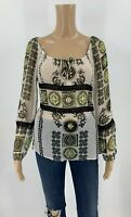 Cache Womens Blouse Size S Semi-Sheer Silk Top Beaded Lace Sequins White A6