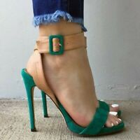 Women's Stiletto Ankle Strap Sandals Peep Toe High Heels Shoes Party Plus Size
