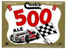 1950s era UNUSED COOK'S BEER LABEL w/ RACE CAR & CHECKERED FLAG DESIGN - INDIANA
