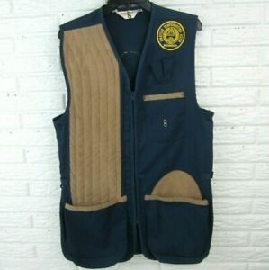 Vintage Bob Allen Ultra suede Shooting Vest Men Size Medium Navy Blue ATA Patch