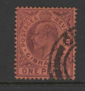 GIB0128 Edward VII Gibraltar 1903 SG57 purple on red 1d fine Used stamp