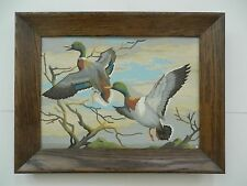 VINTAGE PAIR OF WILD DUCKS BIRDS PAINT BY NUMBER FRAMED painting