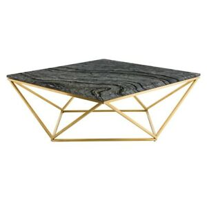 """36"""" W Coffee Table Wood Vein Solid Marble Top Geometric Stainless Steel Base"""