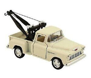 New Kinsmart 1955 Chevy 3100 Stepside Tow Truck Diecast Model Toy 1:32 Cream