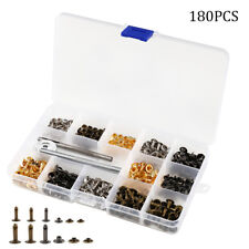 180 Single Cap Rivets Set Tubular Studs Fixing Tool Kit For Leather Silver/ Gold