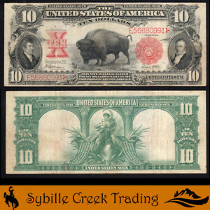 AWESOME 1901 $10 LEGAL TENDER *BISON* NOTE Fr 122   E56880991