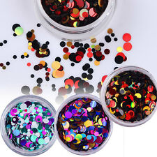 3 boxes Mix Nail Sequins UV Gel Shiny Round Stickers Decoration Tips Blue Red