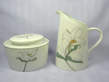 Vtg Block Spal Watercolors TRILLIUM Creamer & Sugar Bowl M.L. Geortzen SIGNED
