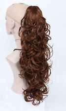 Layered Thick Medium Auburn Long Curly Wavy Woman Ponytail Claw clip