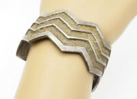 ROBERT SORRELL NAVAJO 925 Silver - Vintage Antique Wavy Cuff Bracelet - B5902