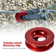 Aluminum Recovery Ring Snatch Ring 41000lb For 38 12 Synthetic Winch Rope Red