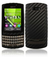 Skinomi Carbon Fiber Black Phone Skin+Screen Protector Cover for Nokia Asha 303