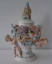 Superb Rare Longton Hall Flower Encrusted Porcelain Lidded Cupid Vase c1755