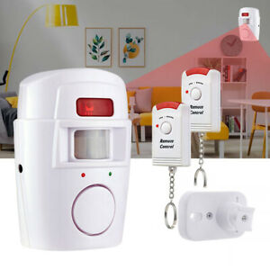 Wireless Motion Sensor Alarm + 2 Remote Controls Shed Without Batteries