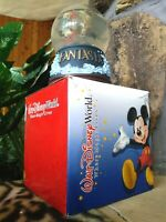 MICKEY SORCERER w/ BROOMS, DISNEY FANTASIA SNOW WATER GLOBE,NIB,LOW CLOUDY WATER
