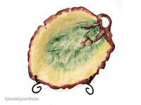 Large Antique Majolica Art Pottery Handled Leaf & Acorn Platter / Serving Tray