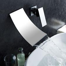 Luxury Waterfall Wall Mounted Bath & Basin Sink Mixer Tap Chrome Faucet