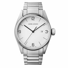 Georg Jensen Delta watch 393 classic 42mm stainless steel quartz white dial date