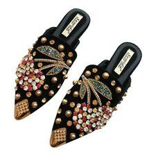 Womens Flat Heel Spring Shoes Pointy Toe Mules Rhinestones Slippers Rivets Slip