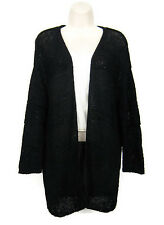 H&M Drape Wrap Cardigan Sweater Women Size M Black Long Sleeve Open Front HM