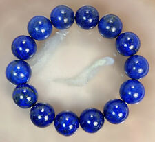 14mm Natural Indigo Lapis Lazuli Gemstone Smooth Round Bracelet 14Beads