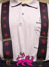 "Suspenders 2""x48"" FULLY Elastic Nautical Stars red NEW"