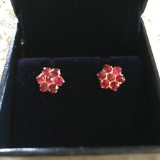 Authentic Ruby and 18K gold floral earrings Custom Made