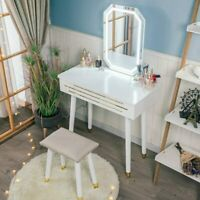 Makeup Vanity Set with LED Mirror Dressing Table Adjustable Stool Drawer Modern