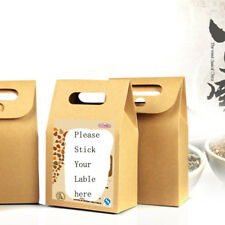 10pcs 10*15.5*6cm STAND UP Kraft Paper Box Cookie Candy Herb Handle Retail Box