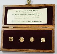 Israel 4 Piece Proof Miniature Gold State Medal Set with Wooden Case & COA
