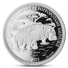 CHAD 1000 FRANCS CFA HIPPOPOTAMUS WITH BABY 1 OZ SILVER INVESTMENT 2015 PROOF