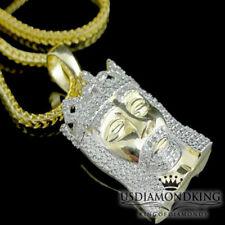 Men Mini Genuine Real Diamond Jesus Cross Charm Pendant Necklace Sterling Silver
