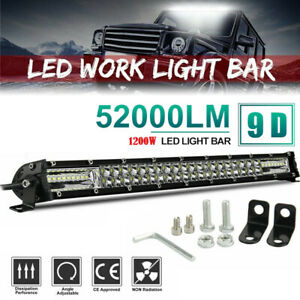 22'' 1200W Led Light Bar Dual Row Spot Flood Combo Work UTE Truck SUV ATV 20inch