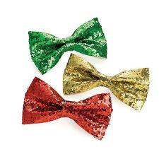3pc scintillant hair bow clip set vert or rouge noël paillettes mousseux noël