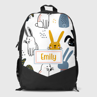 Personalised Cute Bunny Rabbit Scene Girls Kids Children's School Bag Backpack