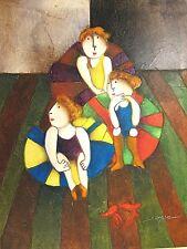 "Hand Paint 12"" x 16"" Children Woman Girls Ballerinas Dancing Cubism Oil Painting"