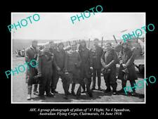 OLD LARGE HISTORIC PHOTO OF WWI ANZACS, AUSTRALIAN FLYING CORPS IN FRANCE c1918