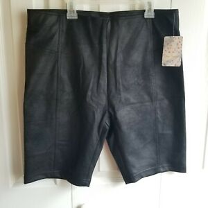 Free People Black Coated Biker Shorts size L NWT