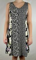 J. Jill Women's Wearever A Line Dress Black White Floral Sleeveless Petite Small