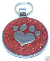 GLITTER Paw Heart RED PET TAG - ( Free Engraving ) Cat & Dog Disc
